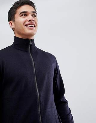French Connection Zip Through Funnel Neck Fine Gauge Sweater