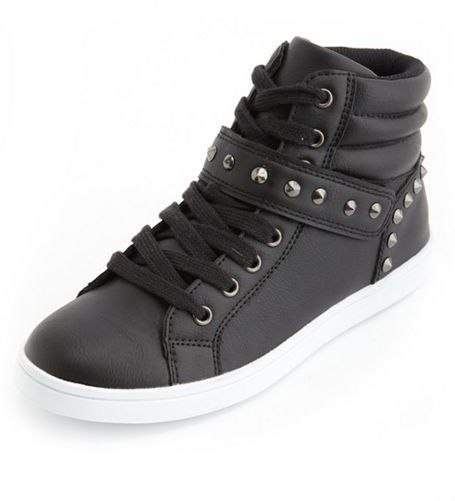 Charlotte Russe Studded Hi-Top Lace-Up Sneaker