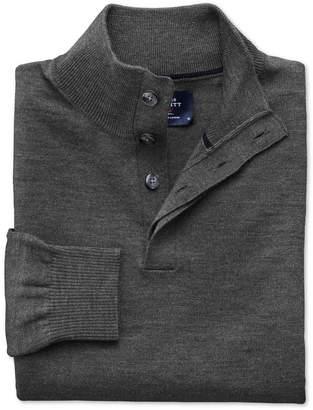 Charles Tyrwhitt Charcoal Merino Wool Button Neck Sweater Size Medium