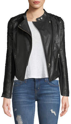 LaMarque Stripped Leather Motorcycle Jacket