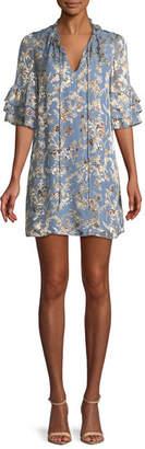 Alice + Olivia Julius Split-Neck Tiered-Sleeve Floral-Jacquard Tunic Dress