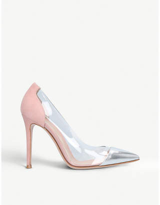 Gianvito Rossi Plexi 105 metallic-leather courts