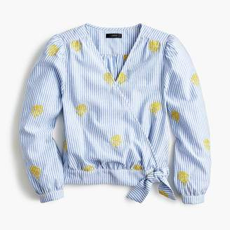 J.Crew Petite cotton wrap top in embroidered pineapple