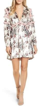 Kas Melisa Floral Velvet & Lace Shift Dress
