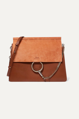 Chloé Faye Medium Leather And Suede Shoulder Bag - Brown