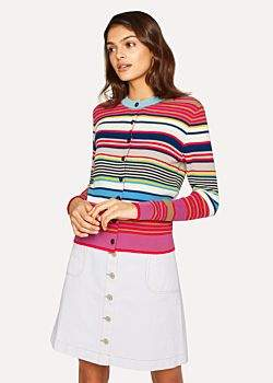 Paul Smith Women's Multi-Coloured Stripe Knitted Cotton Cardigan