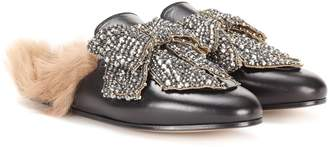 Gucci Princetown embellished leather slippers