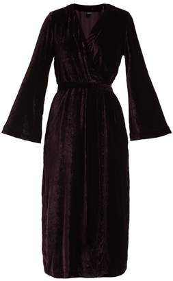 Once Milano - Bell Sleeve Velvet Robe - Womens - Burgundy