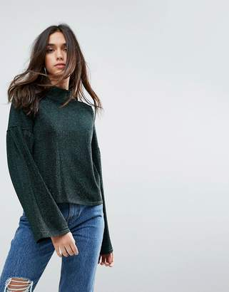 Asos Design Jumper in Metallic with Wide Sleeves