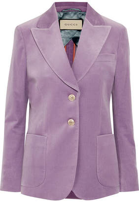 Gucci Cotton-blend Velvet Blazer - Lilac