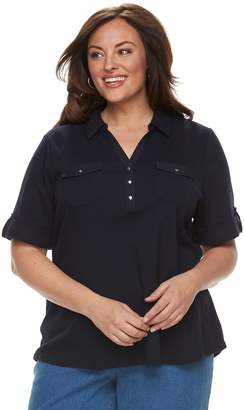 Croft & Barrow Plus Size 2-Pocket Henley Polo