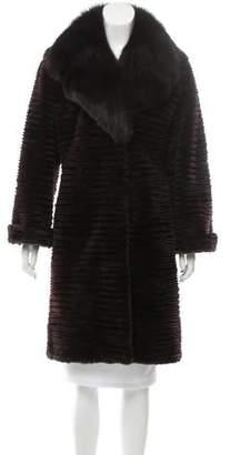 Trilogy Fox Fur Trim Mink Knee-Length Coat