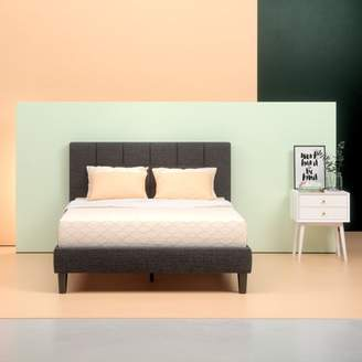 Zinus Lottie Upholstered Square Stitched Platform Bed with Headboard and Wooden Slats, Multiple Sizes