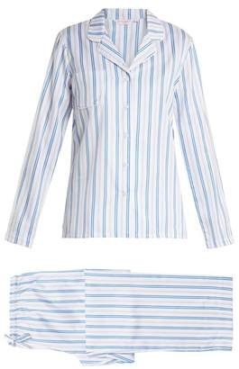Derek Rose Wellington 46 Striped Cotton Pyjamas - Womens - White Stripe