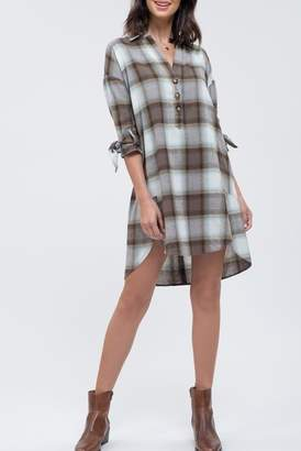 Blu Pepper 3\u002F4 Sleeve Plaid Print Dress