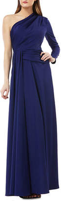 Kay Unger New York One-Shoulder Gown w/ Draped Sash