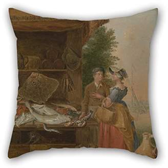Ställ slimmingpiggy Oil Painting Balthazar Nebot - Fishmonger's Cushion Covers Best For Teens Girls Valentine Wife Home Office Bf Kids(twice Sides)