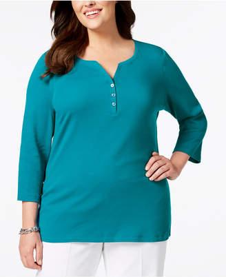 Karen Scott Plus Size Cotton Henley Top