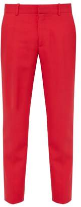 Alexander McQueen Slim Leg Wool Blend Trousers - Mens - Red