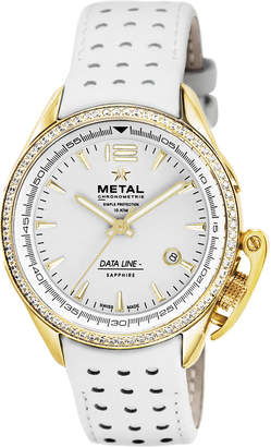 METAL CHRONOMETRIE ラウンド デイト パンチングベルト ウォッチ フェイス:ホワイト ベルト:ホワイト