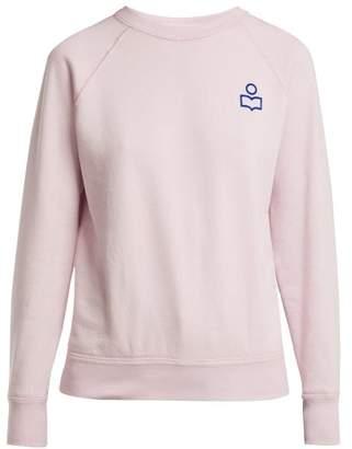 Etoile Isabel Marant Milly Flocked Logo Cotton Blend Sweatshirt - Womens - Light Pink