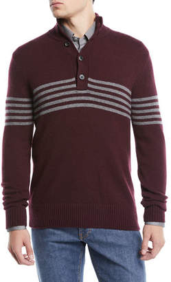 Neiman Marcus Men's Horizontal Striped Cashmere Sweater