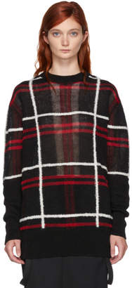McQ Red and Black Patched Check Sweater