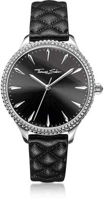 Thomas Sabo Rebel At Heart Silver Stainless Steel And Black Quilted Leather Strap Women's Watch W/crystals