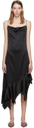 Marques Almeida ブラック シルク ペプラム ドレス