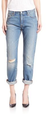 Levi's 501 Distressed Cuffed Jeans $98 thestylecure.com