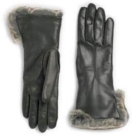 Rabbit Fur Cuff Leather Gloves