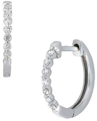 Bony Levy 18K White Gold Bezel Set Diamond Huggie Hoop Earrings - 0.20 ctw