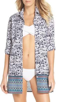 Tommy Bahama La Petite Petals Boyfriend Shirt Cover-Up