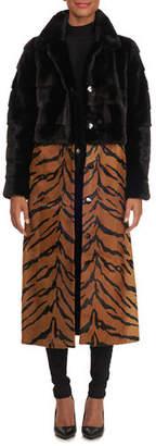 Simonetta Ravizza Mink Fur Short Coat with Detachable Leopard-Print Lamb Skirt