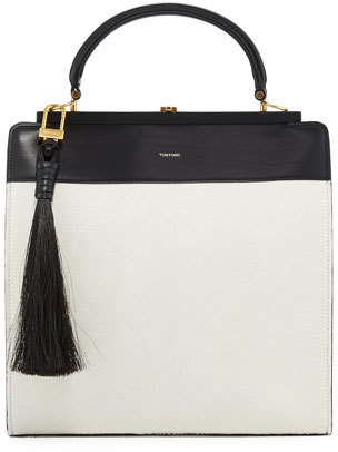 Tom Ford TOM FORD Large Bicolor Leather Satchel Bag w/Calf Hair Tassel, White/Black