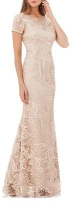 JS Collections Embroidered Lace A-Line Gown
