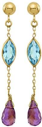 14K Amethyst and Blue Topaz Dangle Post Earrings