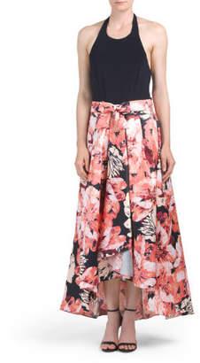 Halter Printed Mikado Dress