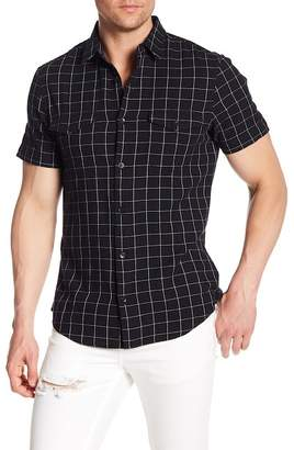 14th & Union Short Sleeve Plaid Print Woven Shirt
