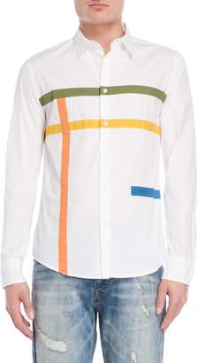 Desigual White Stripe Regular Fit Sport Shirt