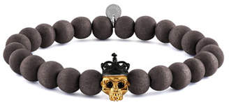 Tateossian Men's Natural Bead & Skull Bracelet, Size M