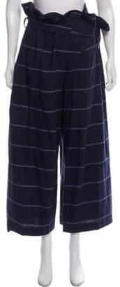 Mara Hoffman Striped High-Rise Pants Navy Striped High-Rise Pants