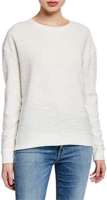 Majestic Cotton/Cashmere Textured Long-Sleeve Sweater
