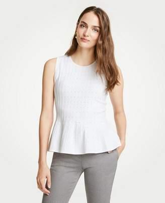 Ann Taylor Petite Pointelle Peplum Sweater Shell