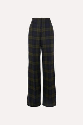 Akris Floyd Checked Wool-blend Wide-leg Pants - Green