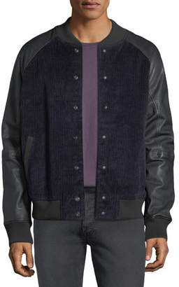 Hudson Men's Leather-Sleeve Corduroy Varsity Jacket