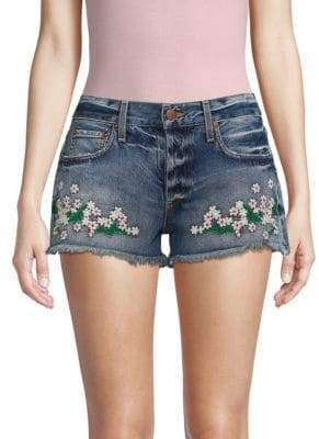 Embroidered Low-Rise Denim Shorts