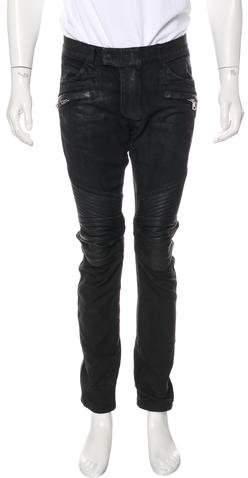 Balmain Lambskin-Trimmed Biker Jeans
