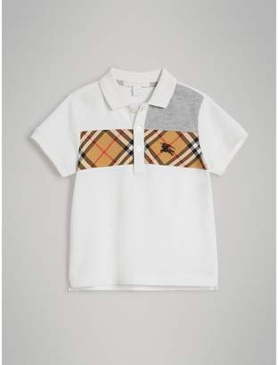 Burberry Vintage Check Panel Cotton Polo Shirt , Size: 10Y