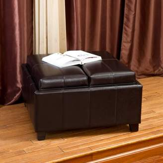 Noble House James Bonded Leather Espresso Tray Top Storage Ottoman